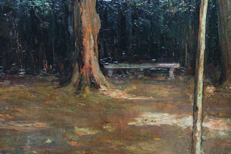 Garden Landscape - Scottish Impressionist oil painting statue Versailles France For Sale 2