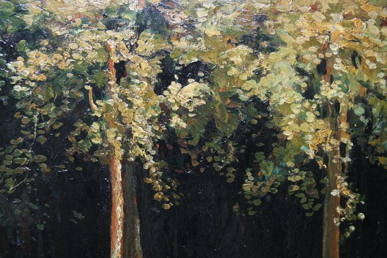 Garden Landscape - Scottish Impressionist oil painting statue Versailles France For Sale 3