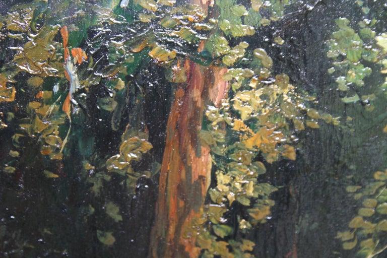 Garden Landscape - Scottish Impressionist oil painting statue Versailles France For Sale 5