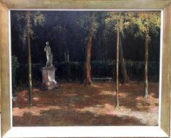 Garden Landscape - Scottish Impressionist oil painting statue Versailles France