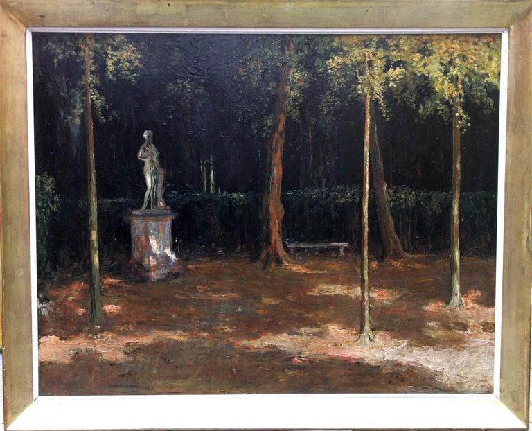 Alexander Jamieson Landscape Painting - Garden Landscape - Scottish Impressionist oil painting statue Versailles France