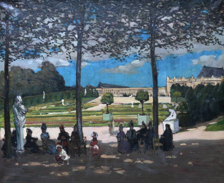 Versailles - Scottish Edwardian art French garden landscape exh. oil painting 7