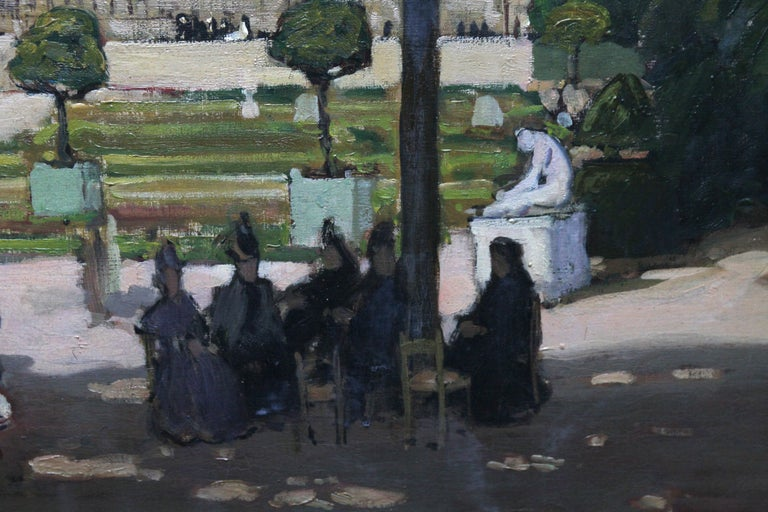This stunning exhibited Edwardian Impressionist oil painting is by noted Scottish artist Alexander Jamieson. Painted in 1906, the setting is the gardens at Versailles palace, France. The impressionist palette and light are stunning. Impressionists