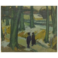 Alexander Klingspor, Oil on Canvas, Modernist Forest Motif, 1936