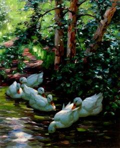 Sechs Enten im Wasser (Six Ducks in the Water)