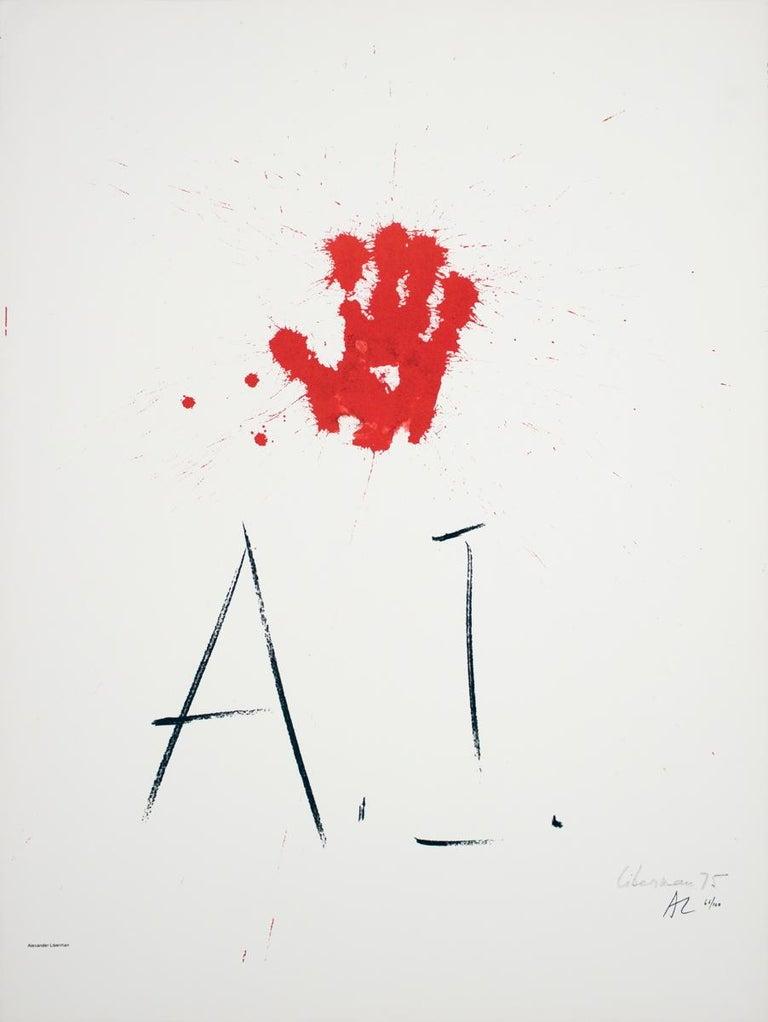 """Alexander Liberman-Amnesty International-33.25"""" x 25.25""""-Offset Lithograph-1976 - Print by Alexander Liberman"""