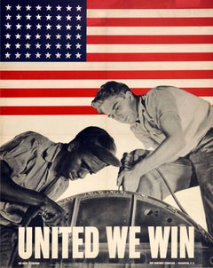 Original Vintage WWII Poster United We Win War Effort Factory Workers USA Flag