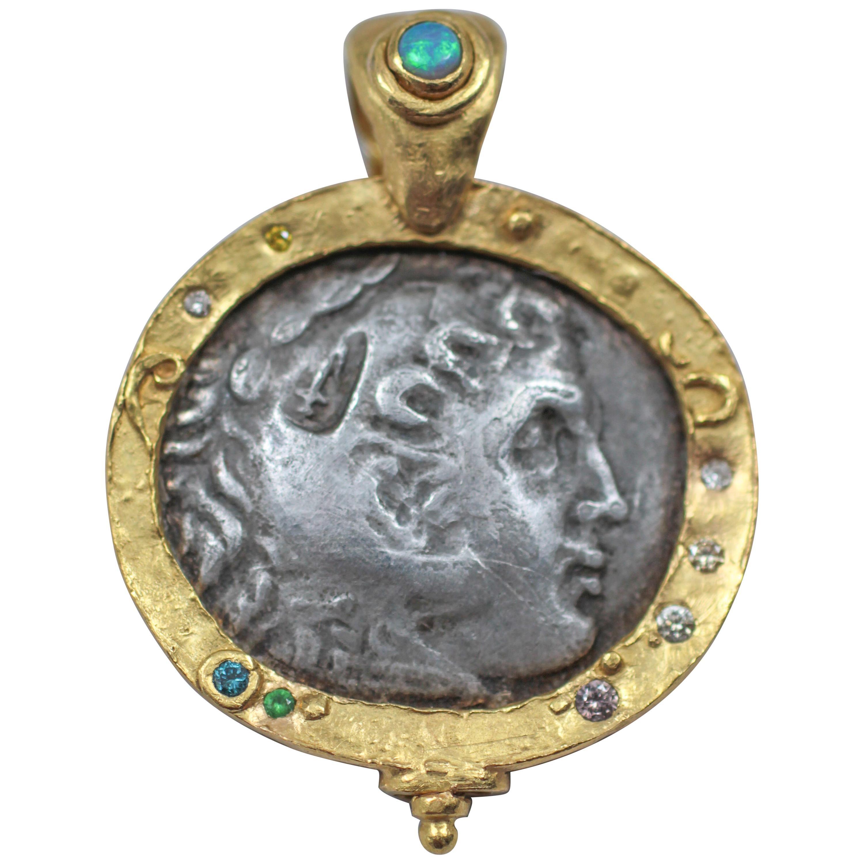 Alexander Macedonian Antique Silver Coin in 22-21 Karat Gold Pendant Necklace