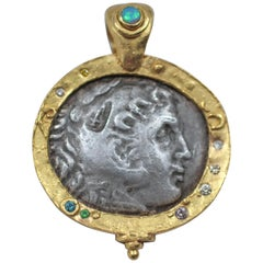 Alexander Macedonian Antique Silver Coin in 22-21 Karat Gold Pendant Necklace