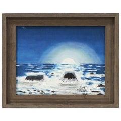 "Alexander Maldonado Seascape Oil Painting ""Moon"", 1974"