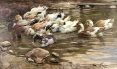 Enten im Weiher (Ducks in the Pond) - Painting, Oil/Canvas, Animals, Naturalism