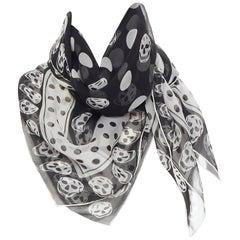 ALEXANDER MCQUEEN 100% black white skull polkadot print scarf