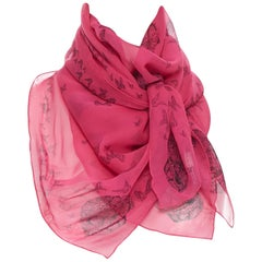 ALEXANDER MCQUEEN 100% silk fuschia pink skeleton butterfly print scarf