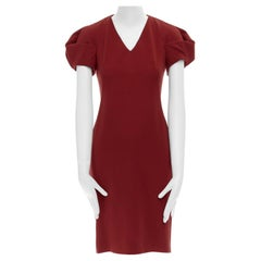 ALEXANDER MCQUEEN 100% wool crepe V-neck pleated sleeves cocktail dress IT38 XS