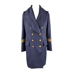 ALEXANDER MCQUEEN 12 Navy Wool Anchor Button Chain Stripe Nautical Coat