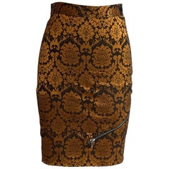 Alexander McQueen 1997 Runway Orange and Brown Brocade Zipper Pencil Skirt