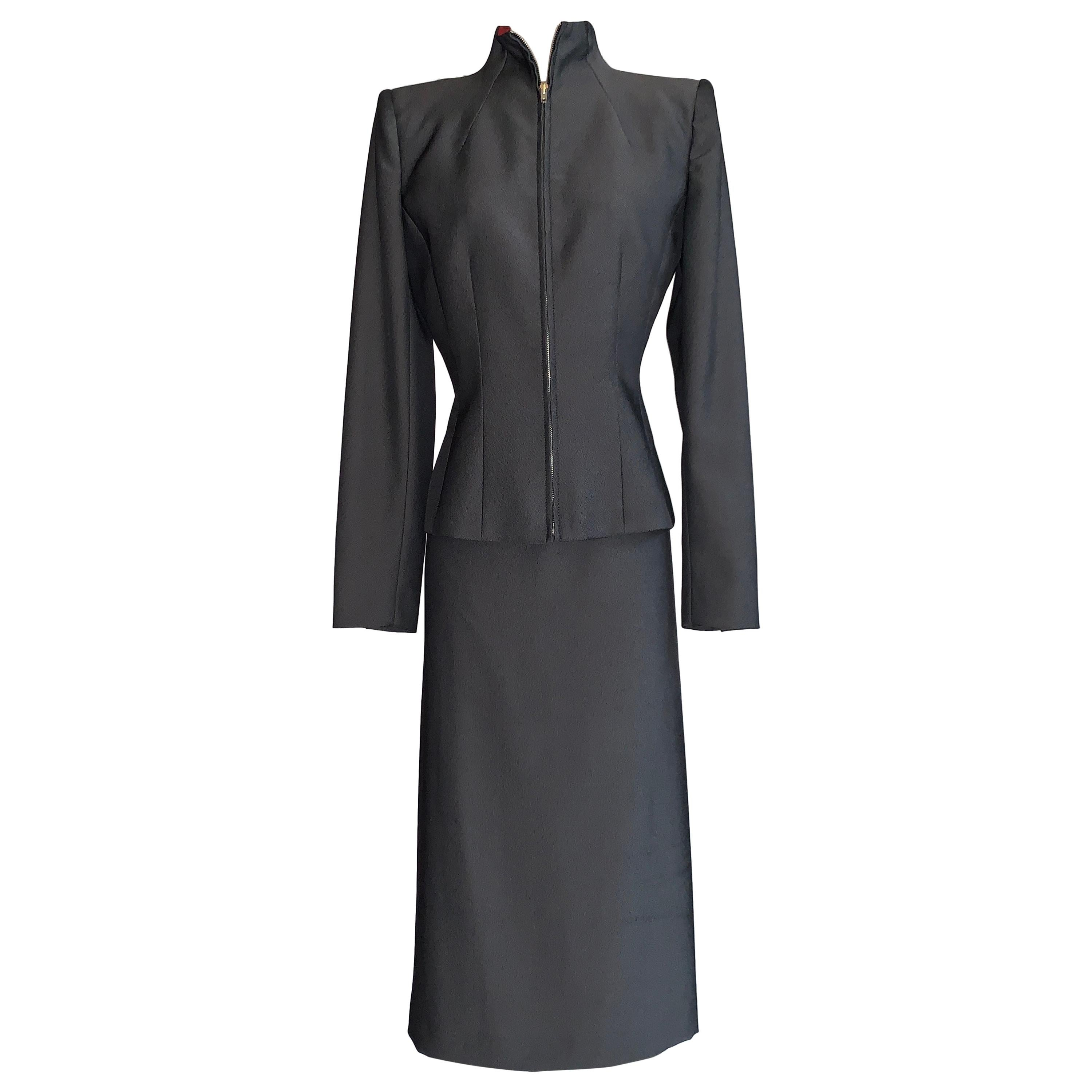 Alexander Mcqueen 1998 Joan Skirt Suit with Zippered Jacket and Logo Red Lining