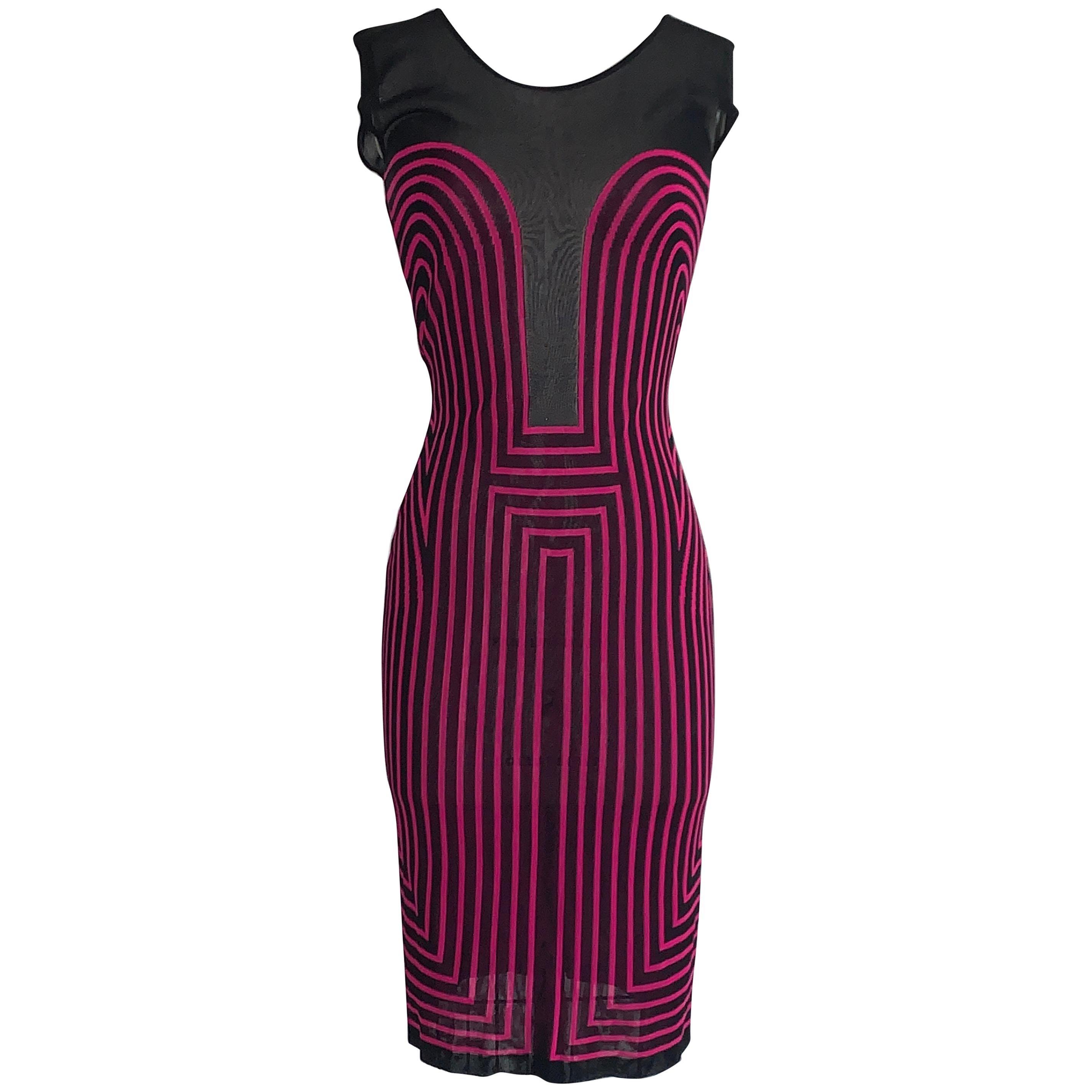 Alexander McQueen 2000s Pink and Black Op Art Knit Body Con Dress
