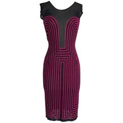 Alexander McQueen 2000s Pink and Black Op Art Knit Body Con Dress
