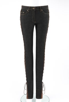 """ALEXANDER McQUEEN 2002 """"Supercalifragilistic"""" Denim Leather Lace Up Skinny Jeans"""
