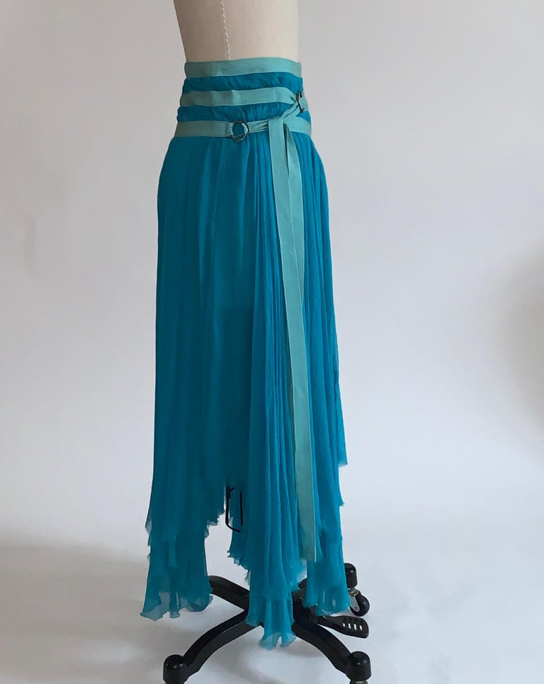 Alexander McQueen 2003 Flowing Blue Strap Skirt from Spring Irere Collection In Good Condition For Sale In San Francisco, CA