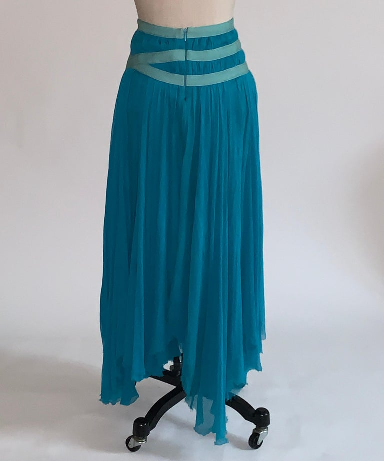 Women's Alexander McQueen 2003 Flowing Blue Strap Skirt from Spring Irere Collection For Sale