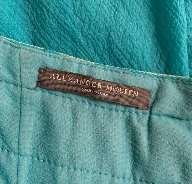 Alexander McQueen 2003 Flowing Blue Strap Skirt from Spring Irere Collection For Sale 1