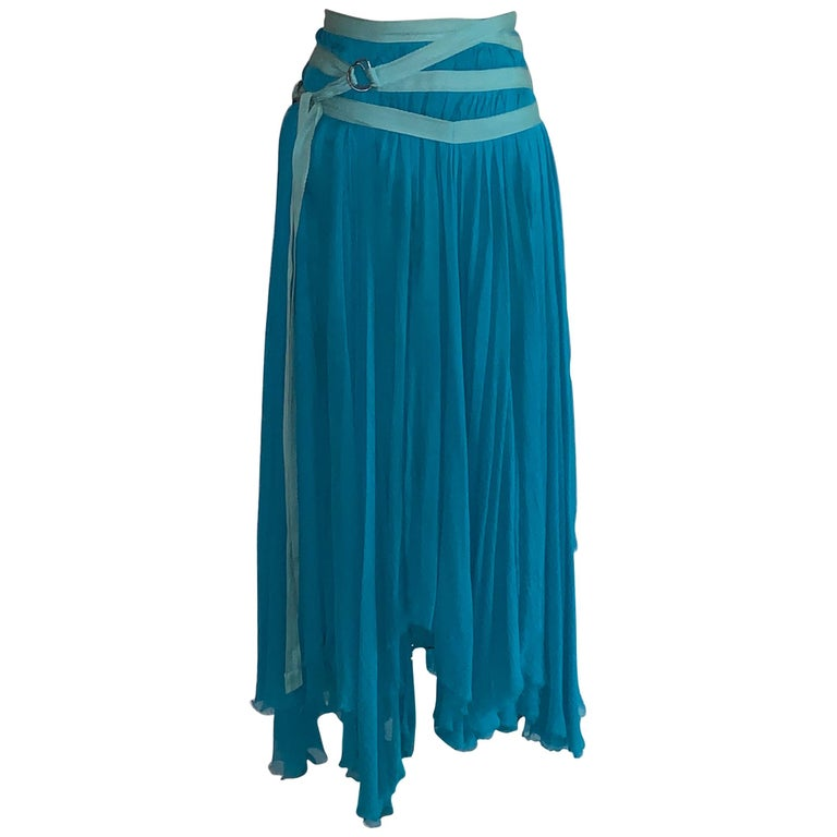 Alexander McQueen 2003 Flowing Blue Strap Skirt from Spring Irere Collection For Sale