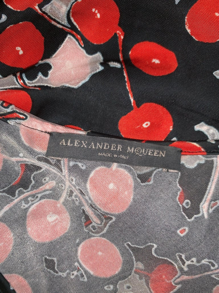 Alexander Mcqueen 2003 Semi Sheer Cherry Print Black Red White Tank Top