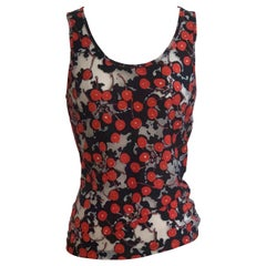 Alexander McQueen 2003 Semi-Sheer Cherry Print Black Red White Tank Top