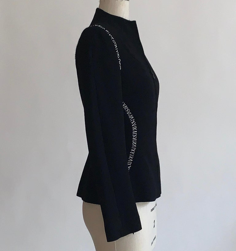 Alexander McQueen 2004 Black Tailored Jacket with White Stitch Detail In Excellent Condition For Sale In San Francisco, CA