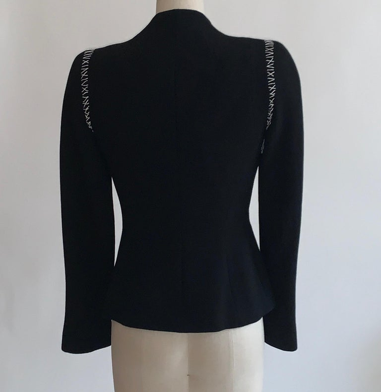Women's Alexander McQueen 2004 Black Tailored Jacket with White Stitch Detail For Sale
