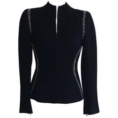 Alexander McQueen 2004 Black Tailored Jacket with White Stitch Detail