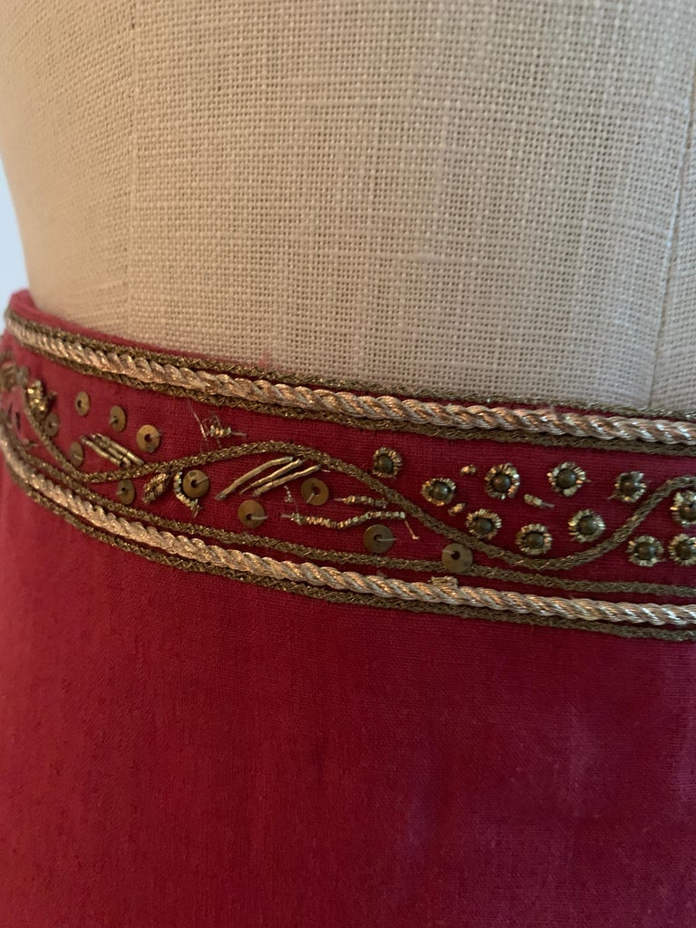 Alexander Mcqueen 2004 Gold Embellished Burgundy Red Pencil Skirt  For Sale 5