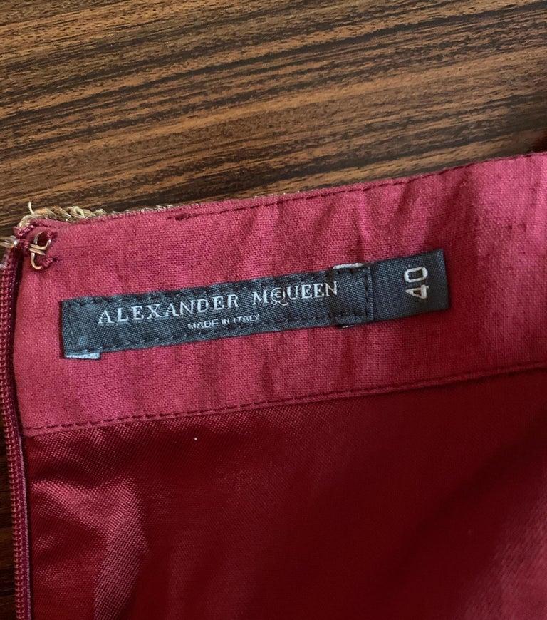 Alexander Mcqueen 2004 Gold Embellished Burgundy Red Pencil Skirt  For Sale 6
