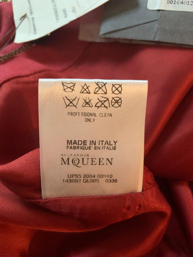 Alexander Mcqueen 2004 Gold Embellished Burgundy Red Pencil Skirt  For Sale 9