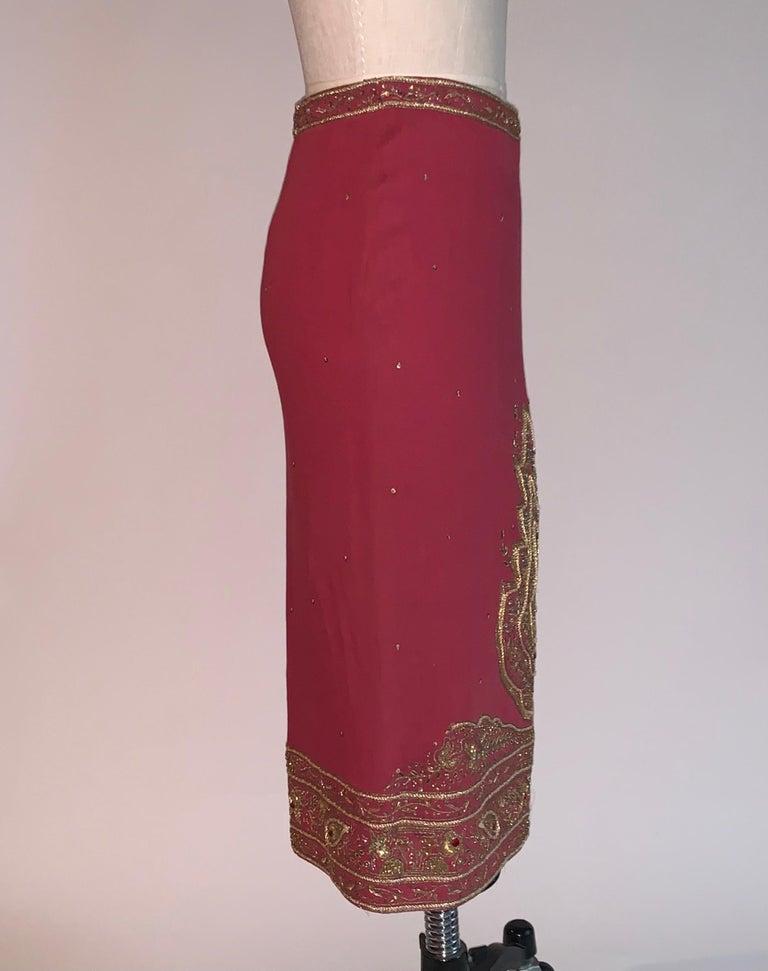 Brown Alexander Mcqueen 2004 Gold Embellished Burgundy Red Pencil Skirt  For Sale