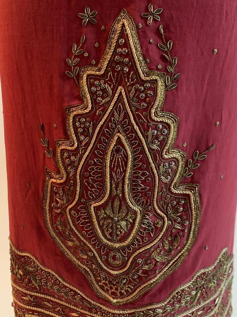 Women's Alexander Mcqueen 2004 Gold Embellished Burgundy Red Pencil Skirt  For Sale