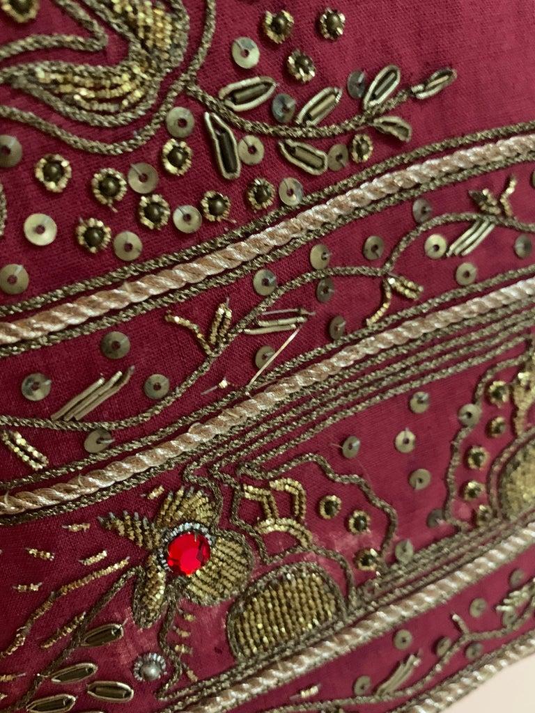 Alexander Mcqueen 2004 Gold Embellished Burgundy Red Pencil Skirt  For Sale 2