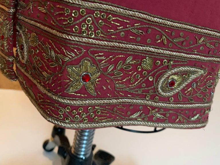 Alexander Mcqueen 2004 Gold Embellished Burgundy Red Pencil Skirt  For Sale 3