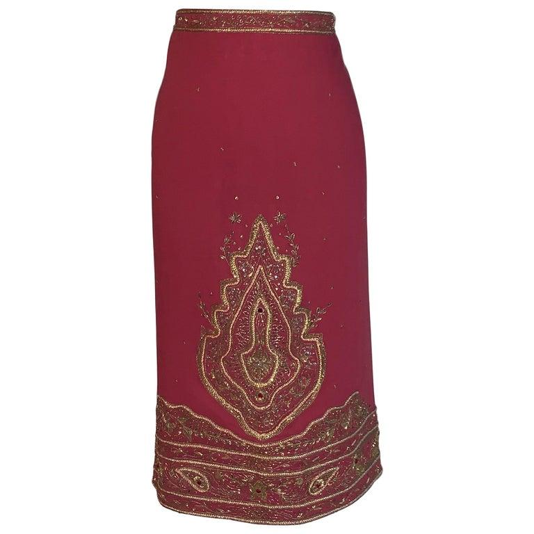 Alexander Mcqueen 2004 Gold Embellished Burgundy Red Pencil Skirt  For Sale