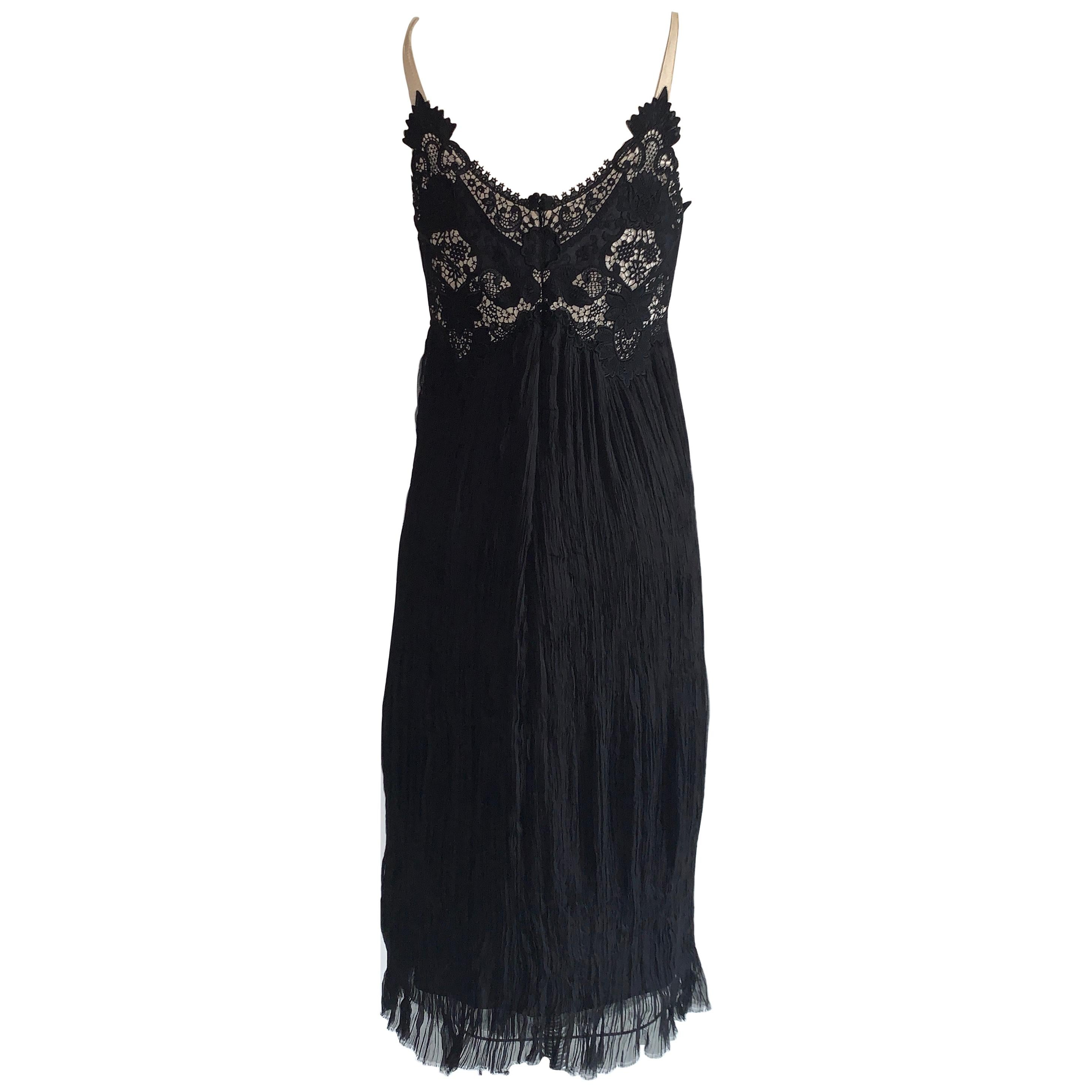 Alexander McQueen 2005 Black Lace and Crinkle Pleat Silk Dress