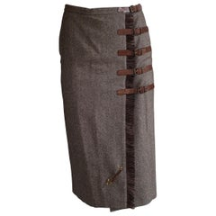Alexander McQueen 2005 Brown Wool Tweed Buckle and Safety Pin Midi Skirt