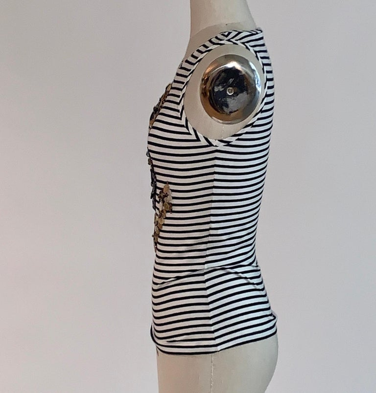 Gray Alexander McQueen 2005 Nautical Button Anchor and Fish Stripe Top For Sale