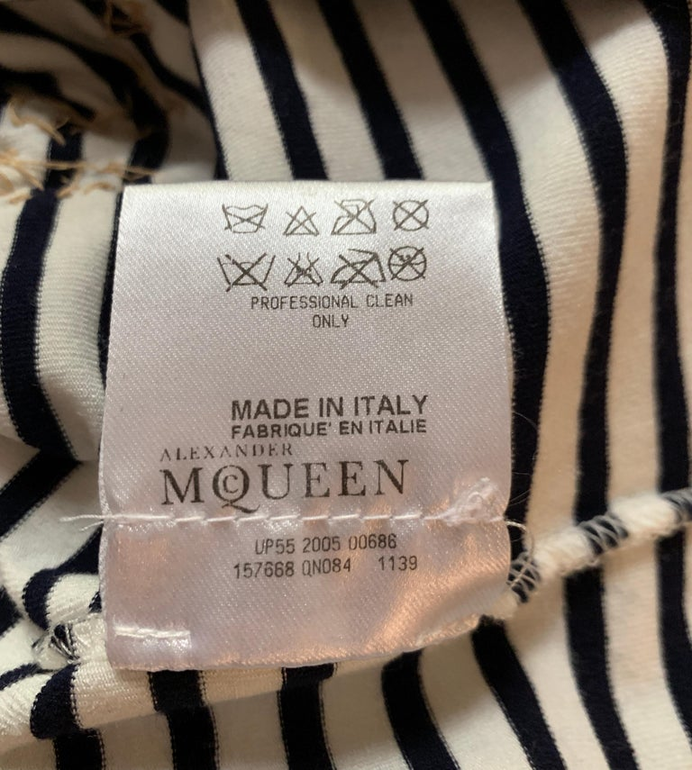 Alexander McQueen 2005 Nautical Button Anchor and Fish Stripe Top For Sale 2