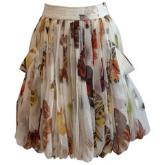 Alexander McQueen 2006 Silk Cream Butterfly Moth Print Bubble Skirt Side Pockets