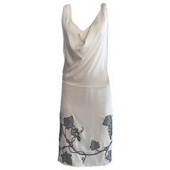 Alexander McQueen 2007 Backless Grape Dress in Silver and Cream White Silk