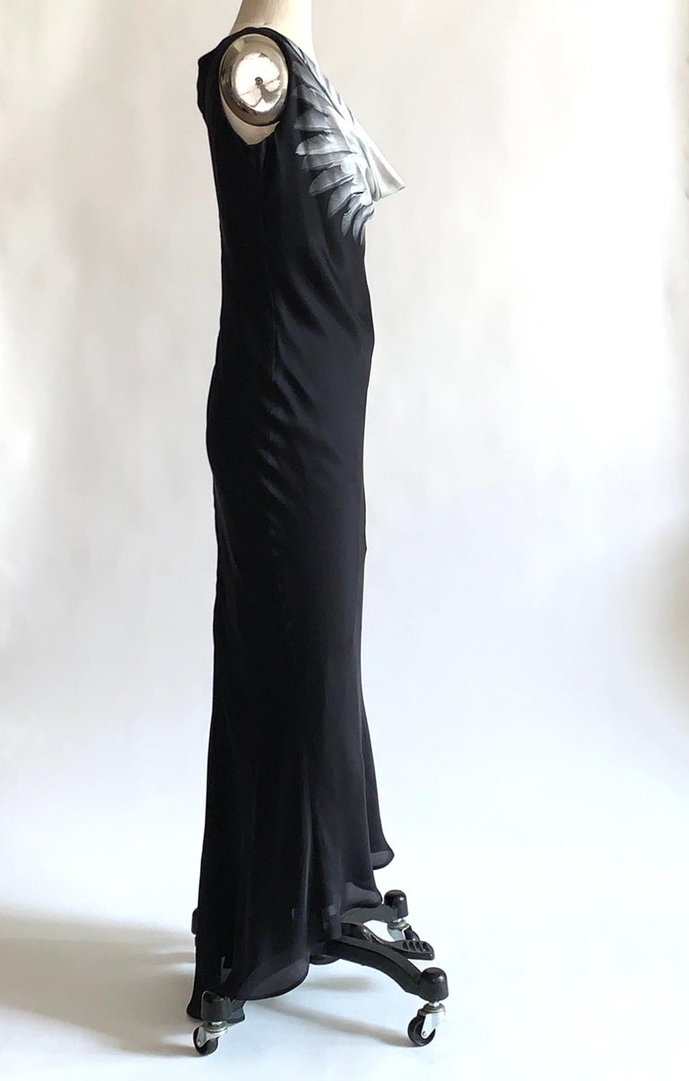 Alexander McQueen 2007 Black Silk Feather Print Cowl Neck Dress  In Good Condition For Sale In San Francisco, CA