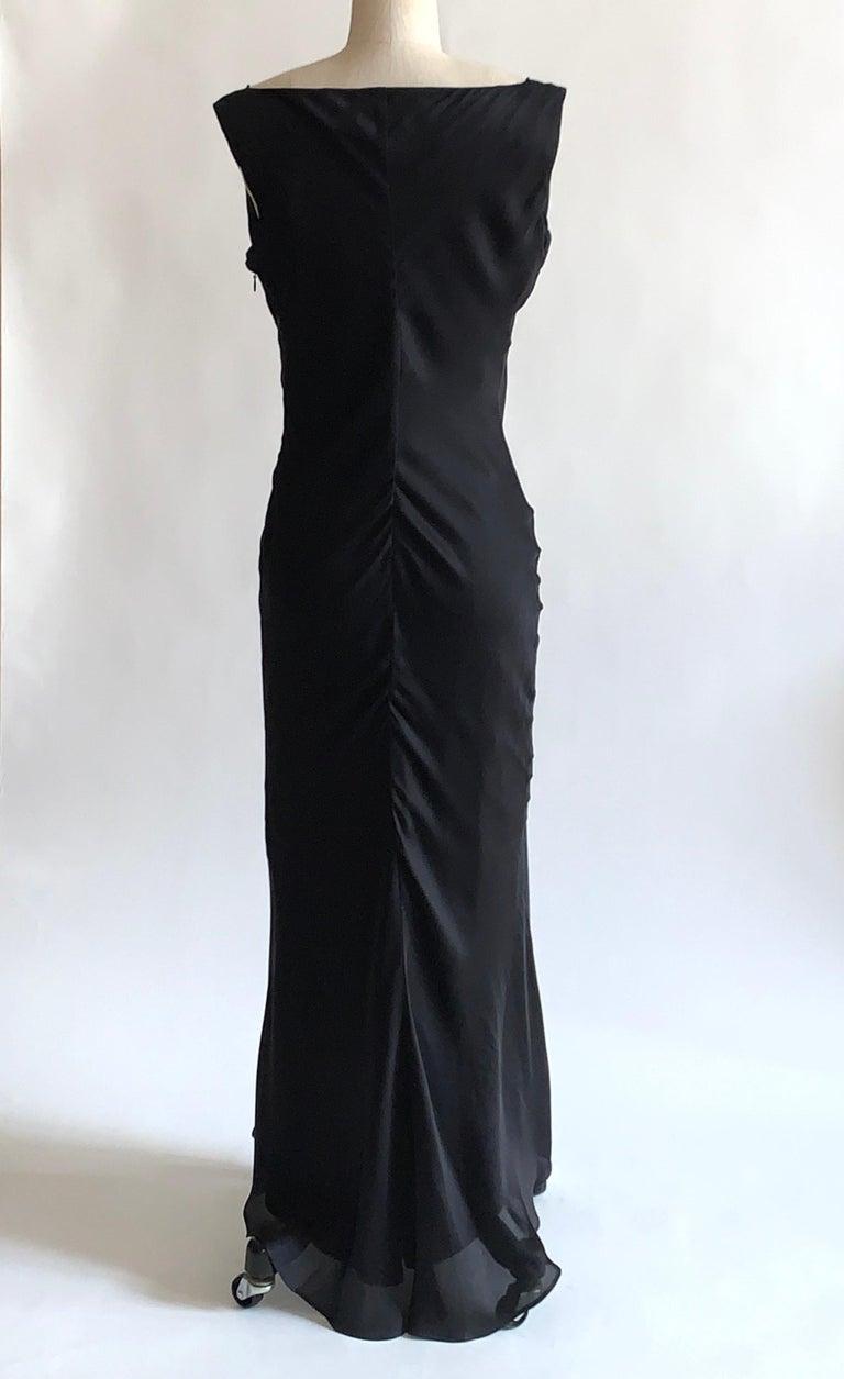 Women's Alexander McQueen 2007 Black Silk Feather Print Cowl Neck Dress  For Sale
