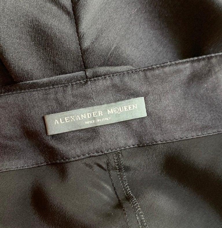 Alexander McQueen 2007 Black Silk Feather Print Cowl Neck Dress  For Sale 1